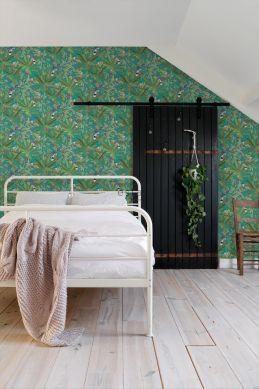carta da parati Camera da letto foglie di giungla tropicale e uccelli del paradiso blu petrolio e giungla verde 139233