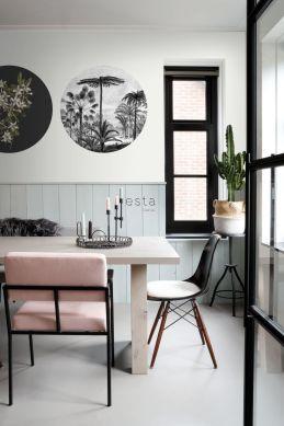 fotomurale autoadhesivo tondo sala da pranzo paesaggio con palme bianco e nero 158982