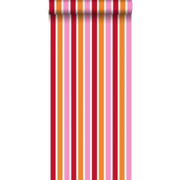 carta da parati strisce rosa e arancione