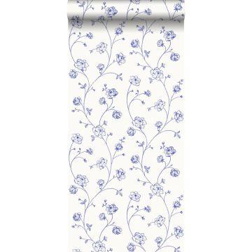 carta da parati rose in toile de jouy blu