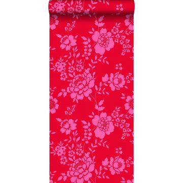carta da parati fiori rosso e rosa