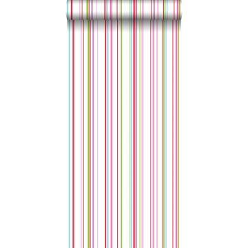 carta da parati strisce verde limetta, rosa e turchese