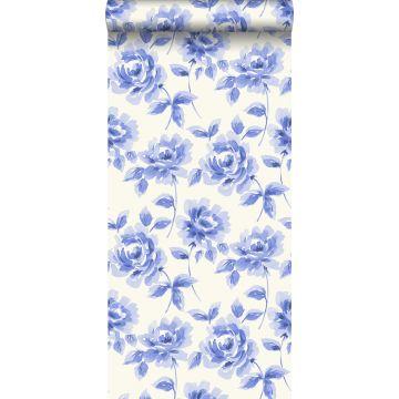 carta da parati rose dipinti ad acquerello blu brillante