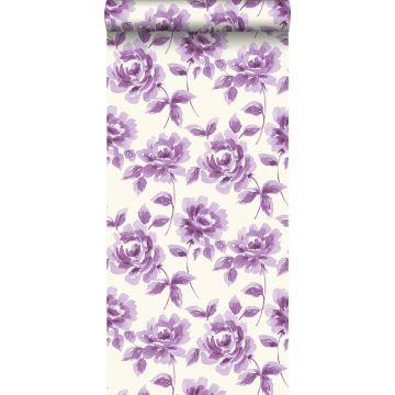 carta da parati rose dipinti ad acquerello viola