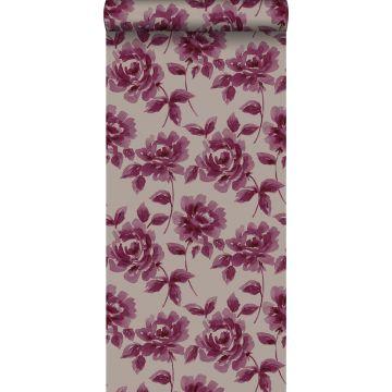 carta da parati rose dipinti ad acquerello viola melanzana e grigio talpa