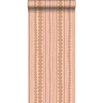 carta da parati perline rosa pesca e marrone rame lucido