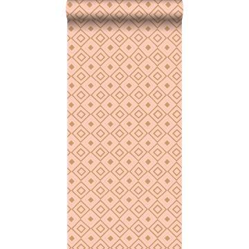 carta da parati rombo rosa pesca e marrone rame lucido