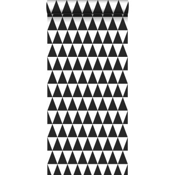 carta da parati triangoli grafici nero e bianco opaco