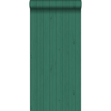 carta da parati tavole strette di legno di recupero retrò vintage verde giungla tropicale