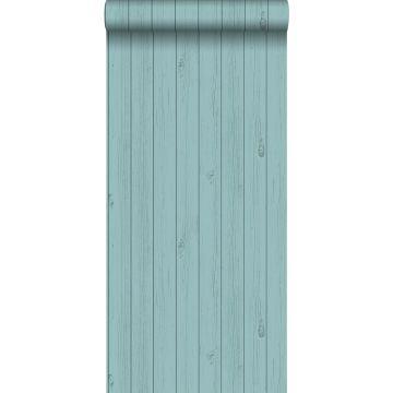 carta da parati tavole strette di legno di recupero retrò vintage verde mare turchese grigiastro