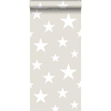 carta da parati grandi e piccole stelle grigio chiaro e bianco