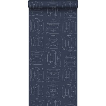 carta da parati disegni tecnici di tavole da surf blu scuro