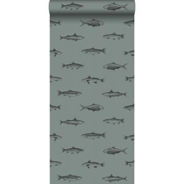 carta da parati disegno a penna di pesce verde grigiastro e nero