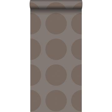 carta da parati sfere su tessuto di lino grigio talpa