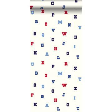 carta da parati imparare l'alfabeto rosso, bianco e blu