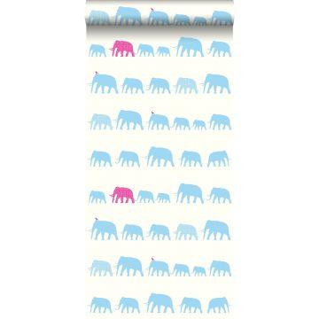 carta da parati elefanti turchese e rosa