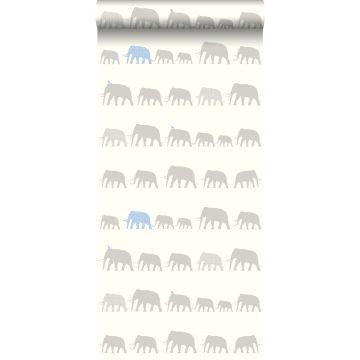 carta da parati elefanti argento e blu chiaro