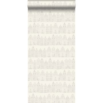 carta da parati case sui canali di amsterdam argento