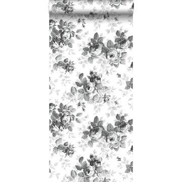 carta da parati rose nero e bianco