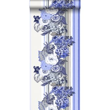 carta da parati fiori retrò vintage blu indigo