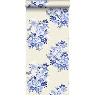 carta da parati fiori e uccelli blu indigo