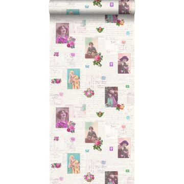 carta da parati cartoline d'epoca retrò vintage rosa e turchese