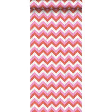 carta da parati zigzag chevrons rosso corallo e rosa