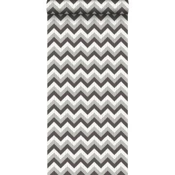 carta da parati zigzag chevrons nero e grigio