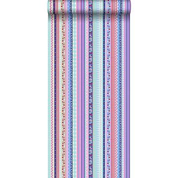 carta da parati nastri blu chiaro e rosa