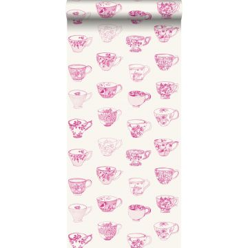 carta da parati tazze e piattini rosa