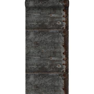 carta da parati piastre di metallo nero e marrone ruggine