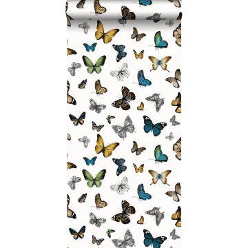 carta da parati farfalle giallo ocra, verde e marrone