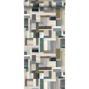 carta da parati legno di scarto marrone e verde oliva grigiastro