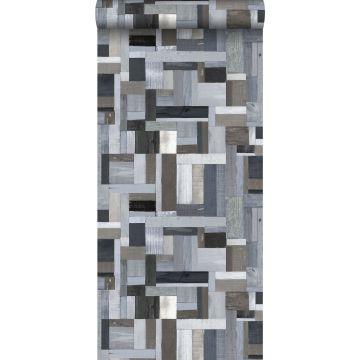 carta da parati legno di scarto blu e grigio