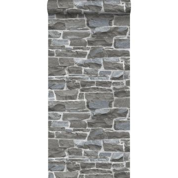 carta da parati muro di mattoni grigio scuro