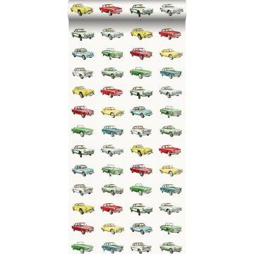 carta da parati auto d'epoca retrò vintage rosso, giallo e verde