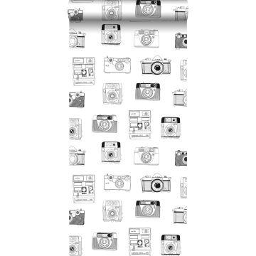 carta da parati fotocamere polaroid nero e bianco