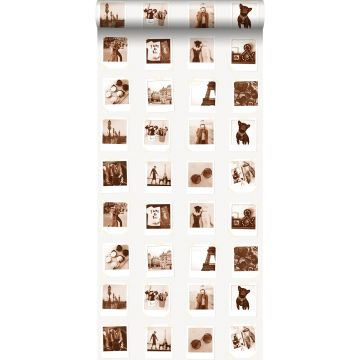 carta da parati polaroid foto marrone seppia e beige chiaro