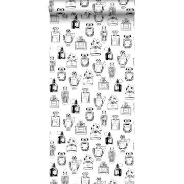 carta da parati bottiglie di profumo nero e bianco