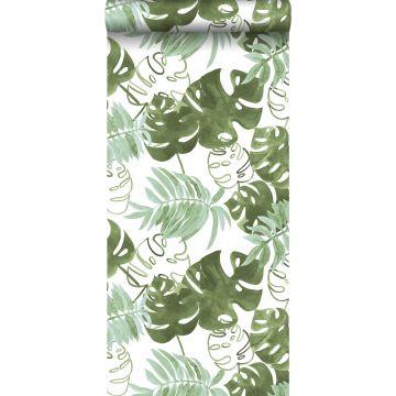 carta da parati foglie giungla tropicale dipinte verde oliva grigiastro