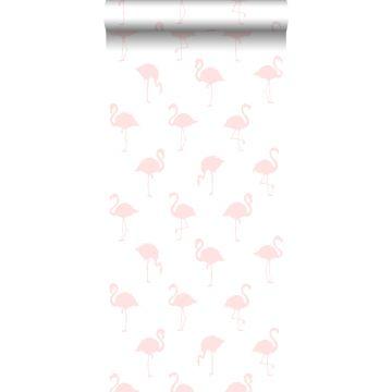 carta da parati fenicotteri rosa chiaro e bianco