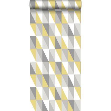 carta da parati triangoli grafici giallo ocra e grigio