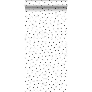 carta da parati fiocci di neve irregolari polka dots nero e bianco