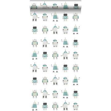 carta da parati robot giocattoli vintage disegnati verde menta e blu