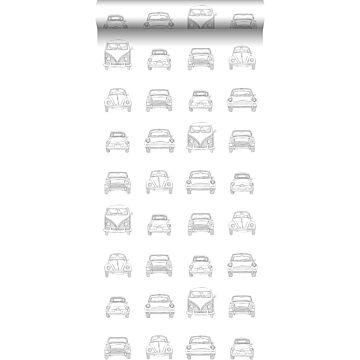 carta da parati macchine vintage disegnate nero e bianco