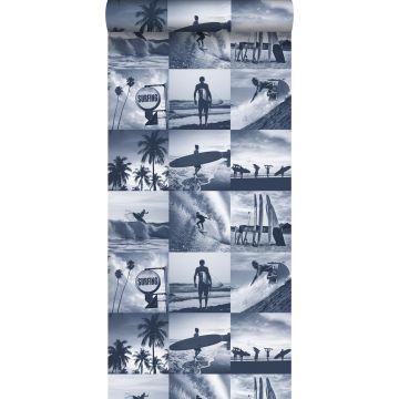 carta da parati foto di surfisti blu scuro