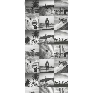 carta da parati foto di surfisti grigio scuro