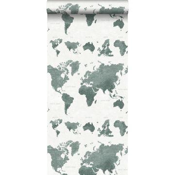 carta da parati mappa del mondo vintage con struttura jeans denim verde grigiastro