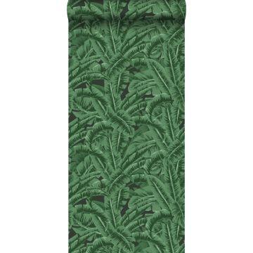 carta da parati foglie di banana verde scuro e nero