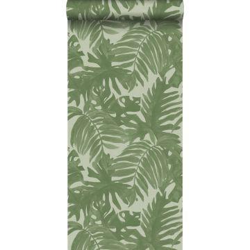 carta da parati foglie tropicali verde oliva grigiastro
